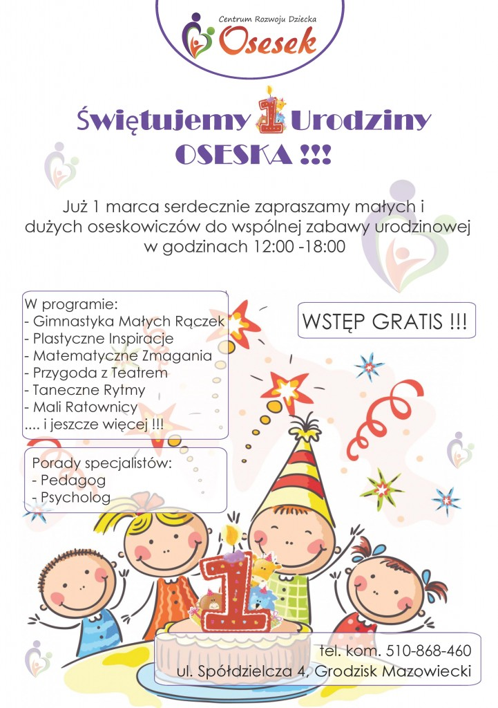Plakat 1 Urodziny Oseska v5.1